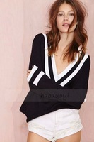 XS to XXL Black White Striped Navy Style Big V-Neck Knitting Pullovers Sweaters Women Plus Size Sexy Tops 2014 Fall New Fashion