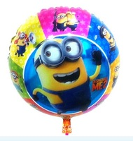 New Style ! Free shipping New style  20pcs/lot 18 inch round Minion Balloons helium balloons party decoration , 45x45cm