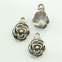 50pcs 10mm flower charms antique silver tone pendant