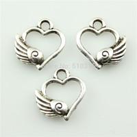 50pcs 14*12mm wing heart charms antique silver tone pendant