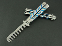 training exercise tool butterfly knife thrown C39 titanium handle color with comb flail not open edge