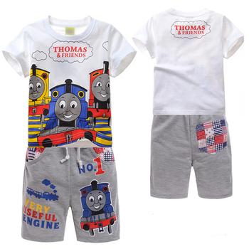 1 компл./лот 2014 новый летний детская одежда комплект мультфильм томас печатных мальчик т-дерьмо + брюки 2 шт. мальчиков одежда в наличии