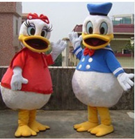 Hot Christmas Donald Duck And Daisy Ducko Cartoon Mascot Costume Halloween Fursuit Fancy Dress Mascot Costume
