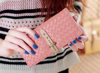 2014 brand wallets  Woven Design  preparation wallet Women  long Lady buckle PU leather wallet Clutch Fashion Change purse