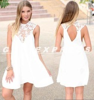 NEW Style Dropshipping Womens Summer Sexy Chiffon Lace Casual Party Evening Short Mini Dresses