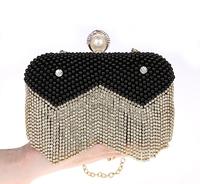Newest upscale bridal pearl evening bag handbag knuckle ring tassel diamond wedding handbags diamond fringed clutch bags 03977-6