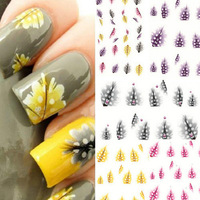 1 pcs Colorful Nail Art Design Decorations Tips Peacock Feather Decal Stickers 2014 New free shipping
