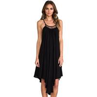 Sexy richcoco racerback irregular sweep pumping adjustable spaghetti strap solid color chiffon one-piece dress d553