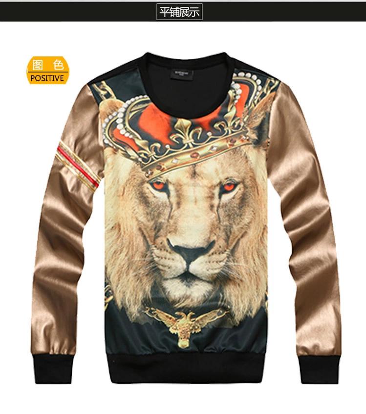 Fashion 3d lion king sweatshirt lovers autumn outerwear male Women slim leather clothing shirt baseball uniform class service(China (Mainland))