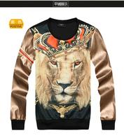 Fashion 3d lion king sweatshirt lovers autumn outerwear male Women slim leather clothing shirt baseball uniform class service