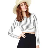 Fashion normic richcoco fashion sexy slim fine stripe short design bare midriff o-neck long-sleeve T-shirt d390