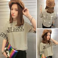 Hot Sale 2014 new fashion Cotton T Shirt Women Plus Size Tops Round Neck The letter printing Women T-shirts D20