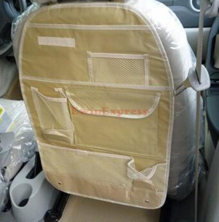 1 X Beige Car Auto Back Seat Organizer Collector Storage Multi-Pocket Holder Hanging Bag(China (Mainland))