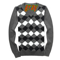 new 2014 Fall winter Blusas masculinas men's pullover fashion checkered pattern men pullover free shipping promotion