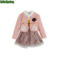 In stock children clothing set spring and autumn fashion lace flower bow cardigans coat+ big flower printed lace dress TLZ-T0328