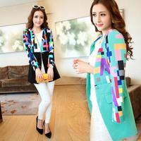 Fashion Women Slim Long Blazer Patchwork Mix Colors V-neck Autumn Suit Jacket Single Button Casual Desigual Coat W037
