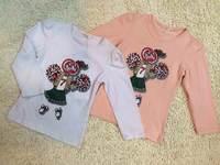2014  New  Retail   Brand  fashion  spring/autumn  children's  shirt  long  sleeve  print  pattern  O-Neck  girl's  shirt