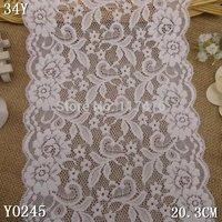 20.3  cm  spandex + nylon white good quality elastic lace trimming