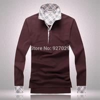 2014 Brand New Mens Fashion Tees T Shirts Casual Classic Plaid Designer Emboroidery Flag Long Sleeves T-Shirts Men's T Shirt