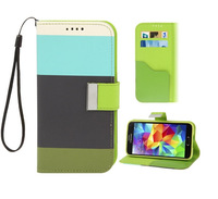 Hot Sale Rainbow Style Leather Wallet Case with Card Slot for Samsung Galaxy S5 i9600 Free Shipping 10pcs/lot