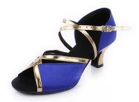 Latin Dance Shoes Women's Sandals Chunky Heel Satin Buckle Dance Shoes  5cm Heel High Free shipping