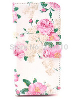 Hot Sell Fashion Pink Flower Floral Flip Magnetic PU Leather Wallet Card Stand TPU Case Cover For Iphone 5 5G 5S Free Shipping