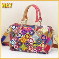 Women Fashion Patchwork Flowers Bags With Diamond Boston Bag Tote Stylish Colorful 100% Genuine Leather Handbags K297