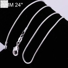 C008 18 Hot sale fashion different sizes 925 silver snake chain