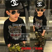 Free Shipping Children Clothing Brand 2014 Spring Autumn New Fashion  Boy Kid Cotton Shirts Korean Beading Long-Sleeved T-shirt
