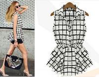 New Women Brand Chiffon Blusas Elastic Waist Black White Plaid Sleeveless Bandeau Ruffles Blouse OL Style Women Shirts 110346