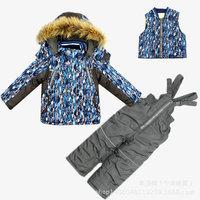 2014 New Children's Winter Clothing Set baby boy Ski Suit Windproof Geometry printing hooded Fur Jackets+Bib Pants+Wool Vest