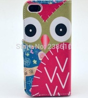 Lovely Cute Red Owl Magnetic Flip PU Leather Wallet Card Holder with Stand Case Cover For Iphone 5 5G 5S Free Shipping