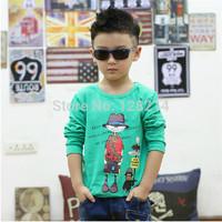 Free Shipping Children Clothing  2014 Spring Autumn New Fashion Baby Boy Kid Cotton Shirts Korean Cartoon Long-Sleeved T-shirt