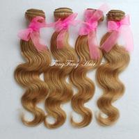 Brazilian blone hair color #27 Blonde Brazilian Human Hair body wave weaves extensions machine weft 3 bundles free shipping