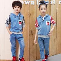 New fashion spring autumn stripe paragraph boys girls clothing baby child denim sport set kids casual coats pants