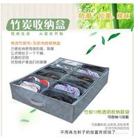 Free shipping Double bamboo woven storage box 12 grid storage shoe box