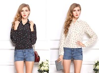 2014 New Women Fashion Plus Size Blouse Chiffon Shirts Boat Anchor Print Tops Full Sleeve Clothes Brand Summer  Wear CL2017