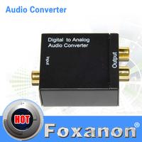 Hi-Fi Digital Audio Optical Coaxial to Analog 2.0 Audio signal Converter DAC for APPLE TV DVD PS3 XBOX PC With EU 1A plug