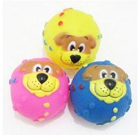 2Pcs/Lot Dog Favorite Audible Thunder Ball Pet Toy Dog Face Sound Ball Dog Cat Playing Ball