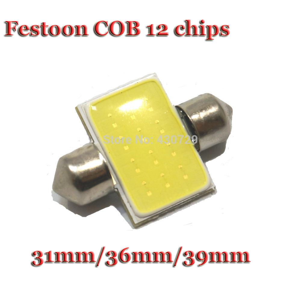4X 31mm 36mm 39mm C5W 12V 3W Car led festoon light COB 12 chips Auto led Dome LIGHT LAMP bulbs(China (Mainland))