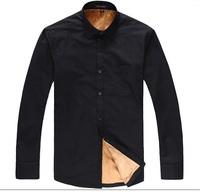 2014 New Products Solid Black Men Business Shirt Fleece Velvet Gentleman Shirt Winter Cotton Dress Shirts