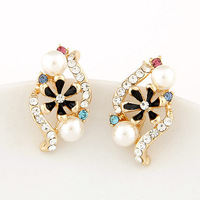 Min Order 10USD Fashion Jewelry Women Crystal Enamel Flower Earrings Pearl Stud Earring