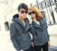 Lovers autumn and winter 2014 loose oblique zipper ql male women's school wear plus size sweatshirt outerwear class service