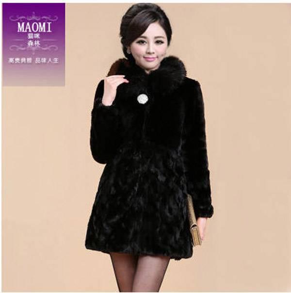 casaco pele 2014 Women fox fur long section winter coat Lady black faux rabbit fur warm outwear clothes S514(China (Mainland))