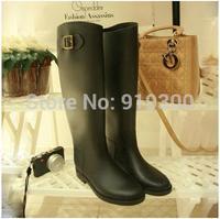 2014 New Women Fashion Motorcycle Rain Boots Flat Heels Knee-high Waterproof Rubber Rainboots Water Shoes 6 Colors #TS147