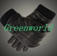 2014 Free shipping winter man sheep genuine leather driving waterproof  motorbike electric bicycle black fashion gloves h-0084