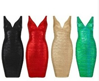 In Stock High Quality New Fashion plung V-Neck black Foil-Print metalic Bandage Dress Bodycon Wedding Dress red/green/gold