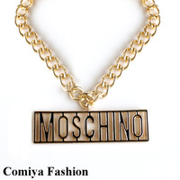 Fashion necklaces accessories 2014 autumn big MOSC gold metal letter exaggerated punk rock pendant large big long necklace