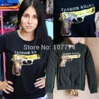 lacegirl's New 2014 Autumn Harajuku  women fashion killer gold gun print long sleeve pullover  hoody sweatshirt s m l