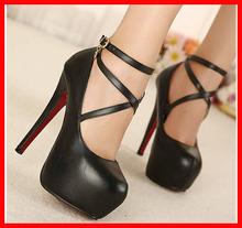 venda quente nova estrela 2014 estilo baratos estilete fundo vermelho de salto alto sapatos moda sexy tornozelo cinta mulheres bombas plataforma marca(China (Mainland))